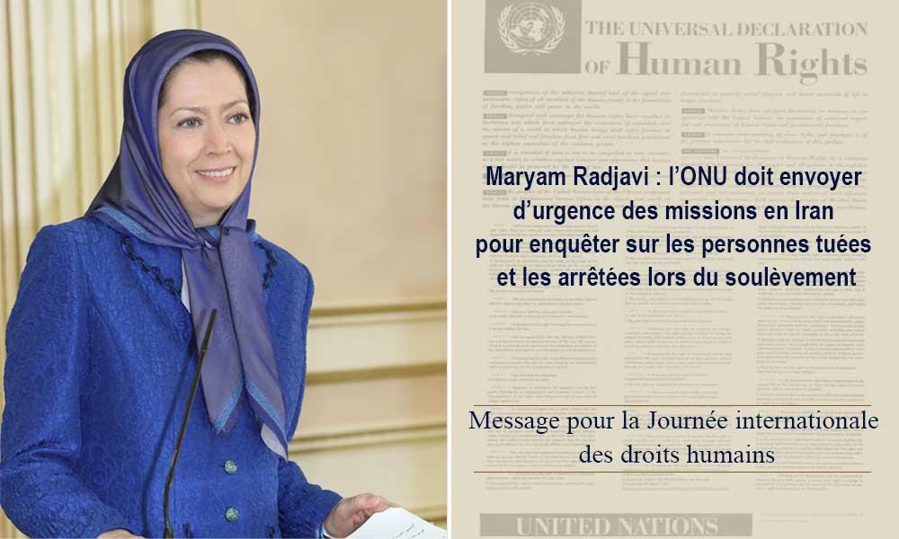 Maryam Radjavi : l'ONU doit envoyer d'urgence des missions en Iran pour enquêter sur les personnes tuées et les arrêtées lors du soulèvement