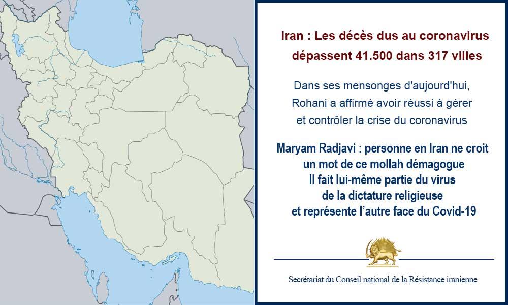 Iran : Les décès dus au coronavirus dépassent 41.500 dans 317 villes
