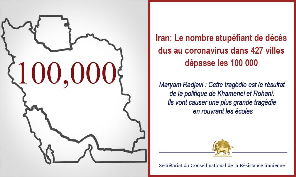 Iran: Le nombre stupéfiant de décès dus au coronavirus dans 427 villes dépasse les 100 000