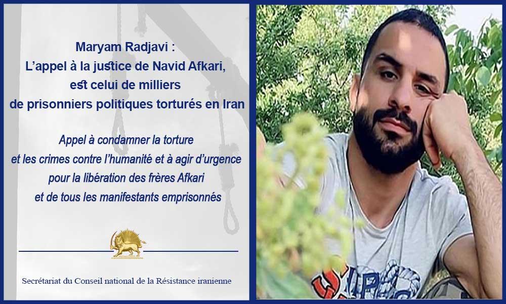 Maryam Radjavi : L'appel à la justice de Navid Afkari, est celui de milliers de prisonniers politiques torturés en Iran