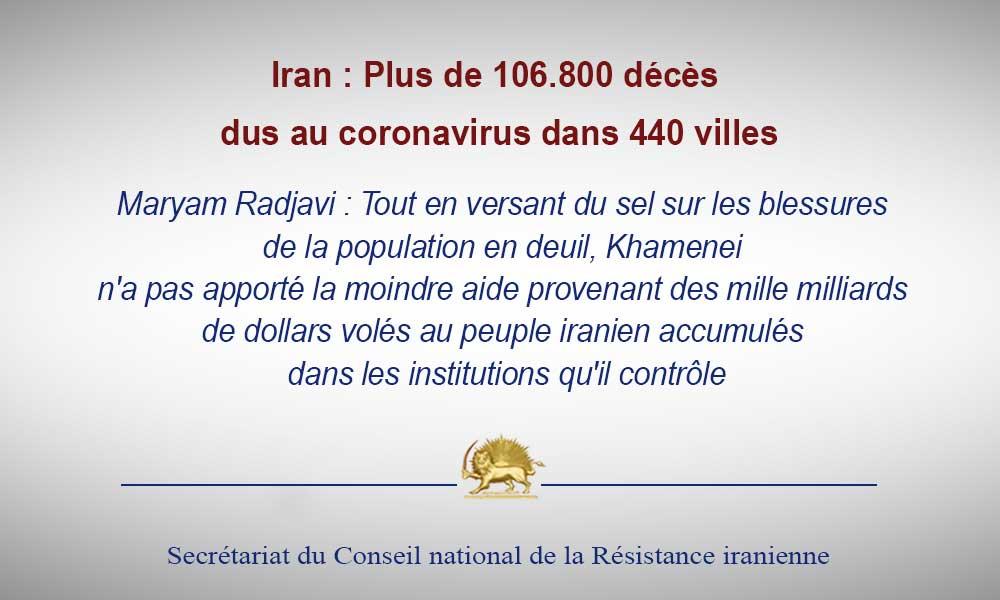 Iran : Plus de 106.800 décès dus au coronavirus dans 440 villes