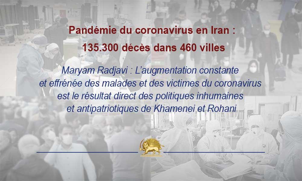 Pandémie du coronavirus en Iran : 135.300 décès dans 460 villes