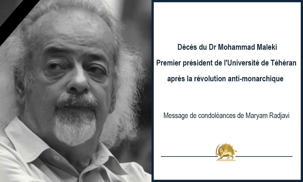 Décès du Dr Mohammad Maleki Premier président de l'Université de Téhéran après la révolution anti-monarchique