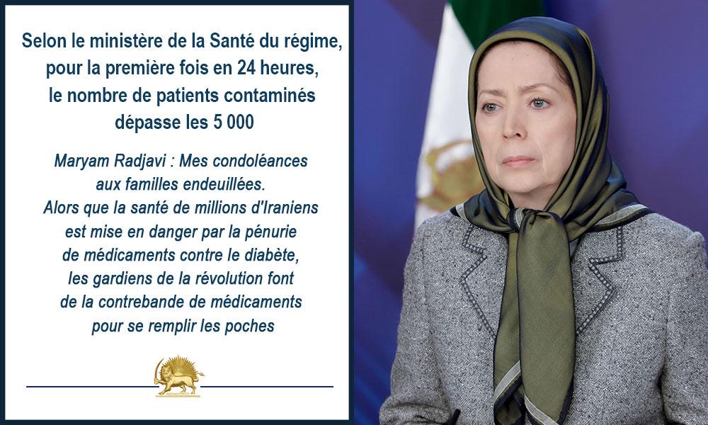Selon le ministère de la Santé du régime, pour la première fois en 24 heures, le nombre de patients contaminés dépasse les 5 000