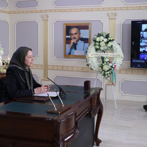 Maryam Radjavi à l'hommage rendu au héros national iranien, le colonel Behzad Moezzi, en présence des membres du CNRI et de l'OMPI/MEK à Achraf-3 – Janvier 2021