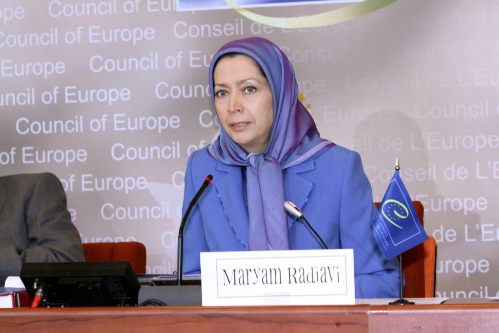 Maryam Radjavi à la conférence à l'assemblée parlementaire du Conseil de l'Europe à Strasbourg