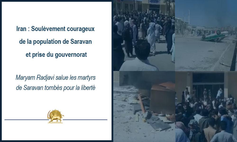 Iran: Soulèvement courageux de la population de Saravan et prise du gouvernorat