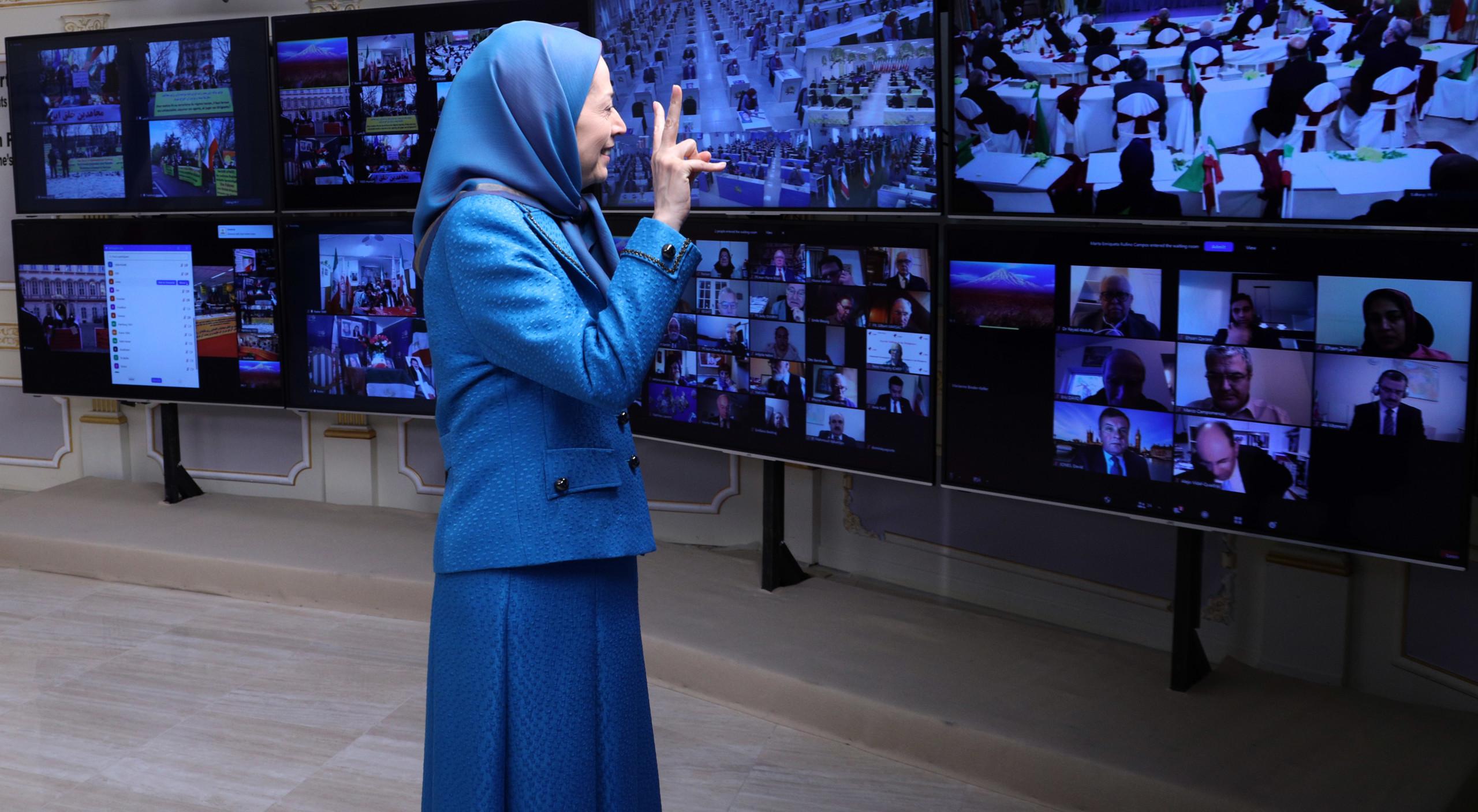 Maryam Radjavi à la Conférence internationale parallèlement à la condamnation du diplomate terroriste du régime iranien par un tribunal européen- 4 février 2021