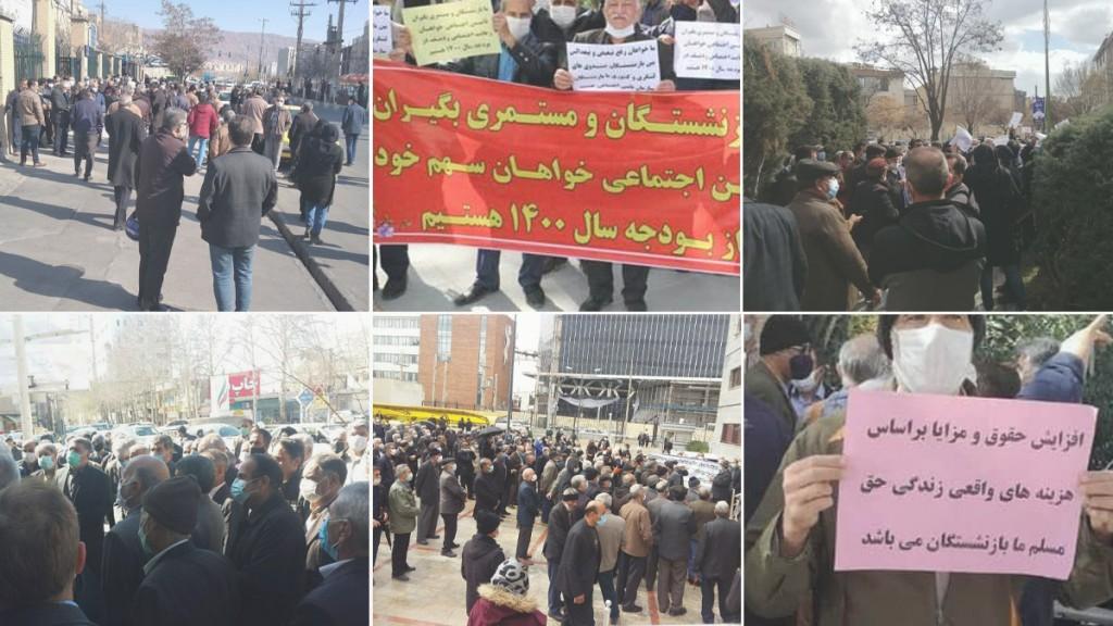 Iran : Les retraités manifestent pour la sixième semaine dans 26 villes de 21 provinces