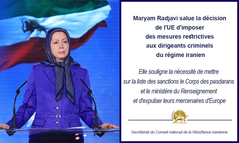 Mme Radjavi salue la décision de l'UE d'imposer des mesures restrictives aux dirigeants criminels du régime iranien