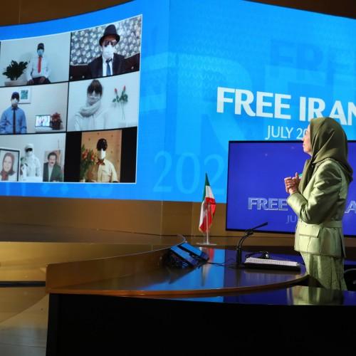 Maryam Radjavi s'adressant aux unités de résistance connectées depuis l'Iran - premier jour du sommet mondial pour un Iran Libre – L'alternative démocratique en marche vers la victoire- 10 juillet 2021