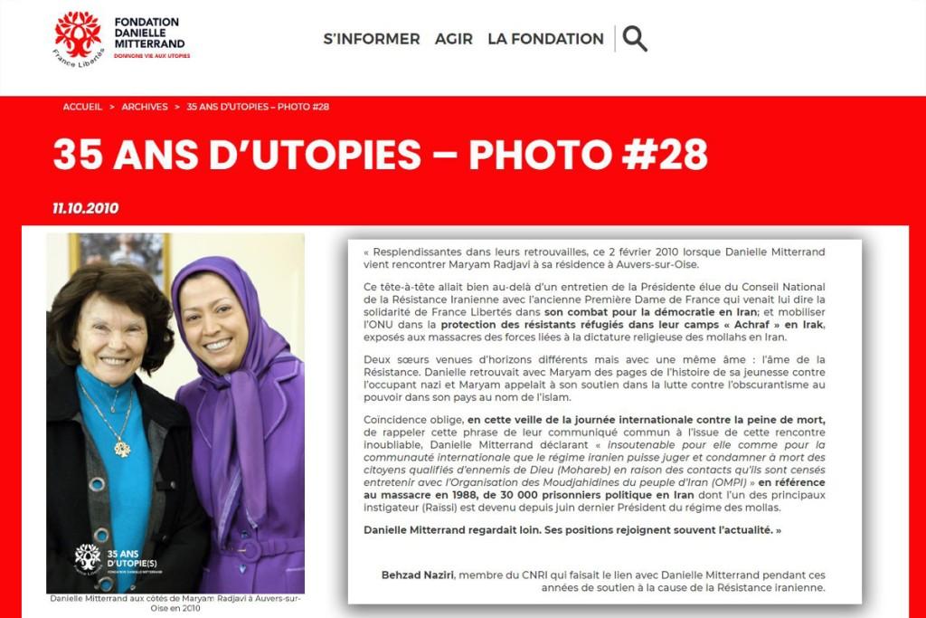 L'ultime rencontre de deux soeurs en résistance, Danielle Mitterrand et Maryam Radjavi
