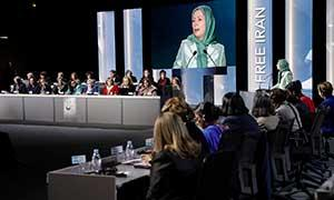 Maryam Rajavi attends IWD Conference entitled Iran uprising and role of women