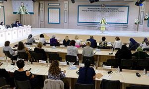 Maryam Rajavi at the international conference on womens leadership in the Iranian Resistance