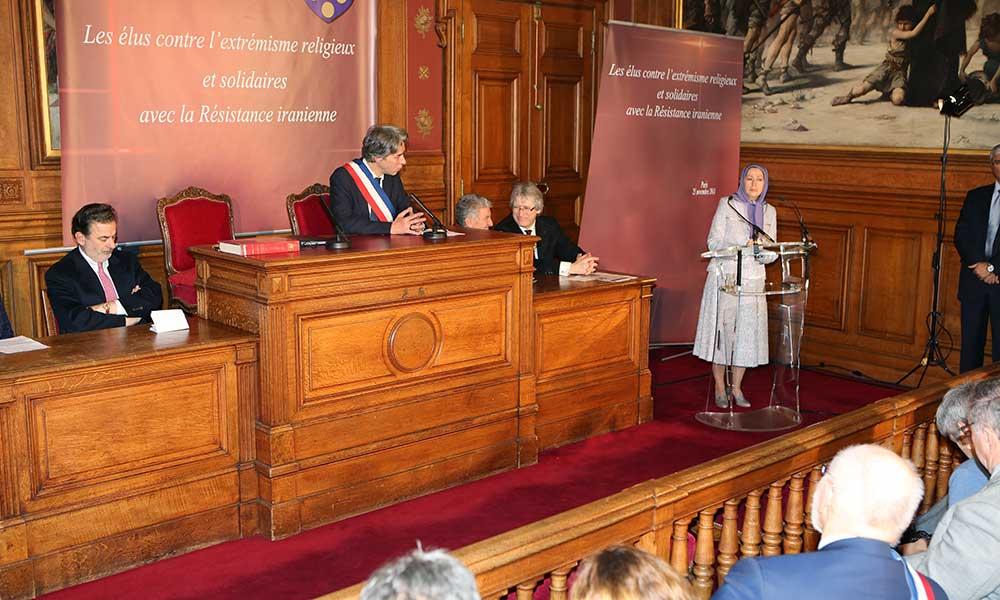 مریم رجوی در كنفرانس منتخبان فرانسه علیه افراطیگری مذهبی و همبسته با مقاومت