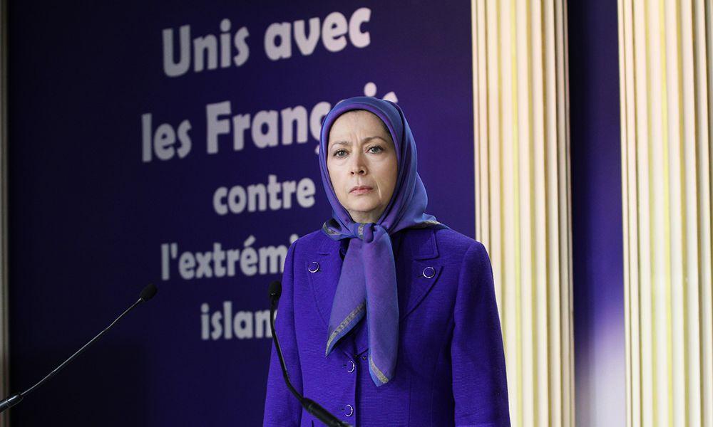 گردهمایی در همبستگی با مردم فرانسه در مقر مقاومت ایران