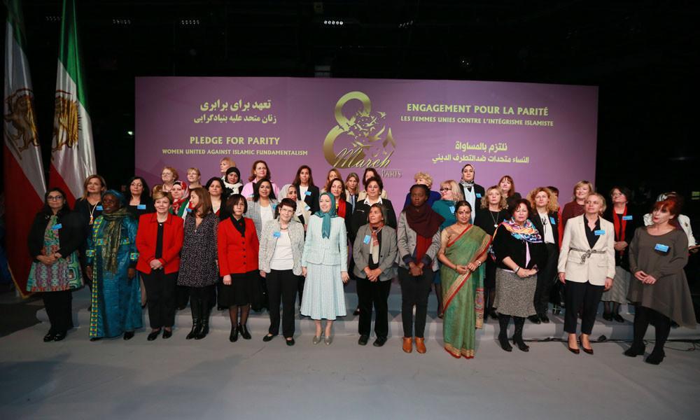 مریم رجوی در کنفرانس زنان متحد علیه بنیادگرایی در آستانه روز جهانی زن در پاریس