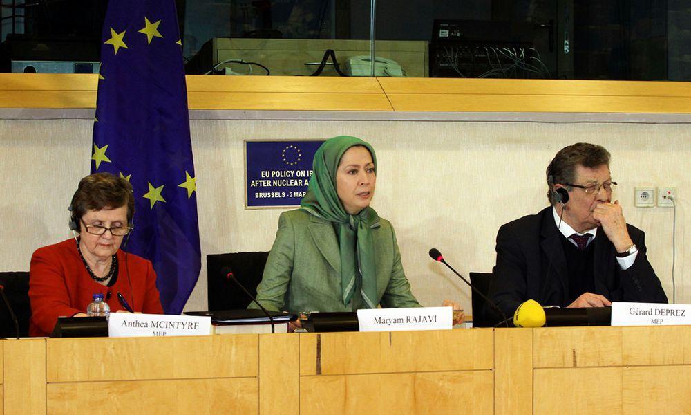 مریم رجوی در کنفرانس سیاست در قبال ایران بعد از توافق هستهای در پارلمان اروپا