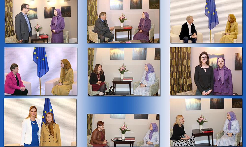 دیدارها و گفتگوهای مریم رجوی با نمایندگان پارلمان بلژیک و پارلمان اروپا