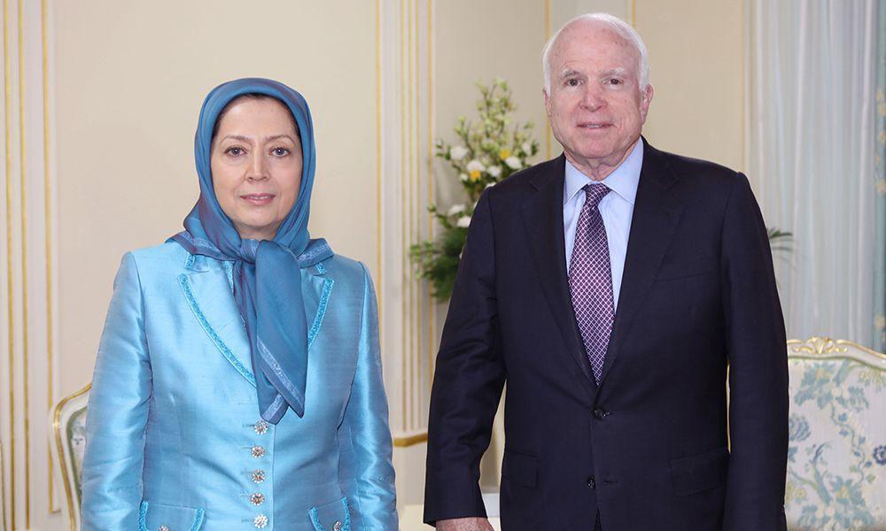 ملاقات سناتور مككین و مریم رجوی - دیدار سناتور مککین با مجاهدین اشرفی در تیرانا