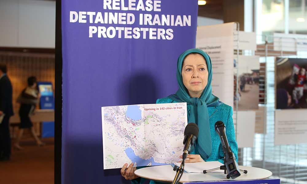 مریم رجوی در کنفرانس مطبوعاتی در شورای اروپا:  دستگیرشدگان قیام ایران باید فورا آزاد شوند