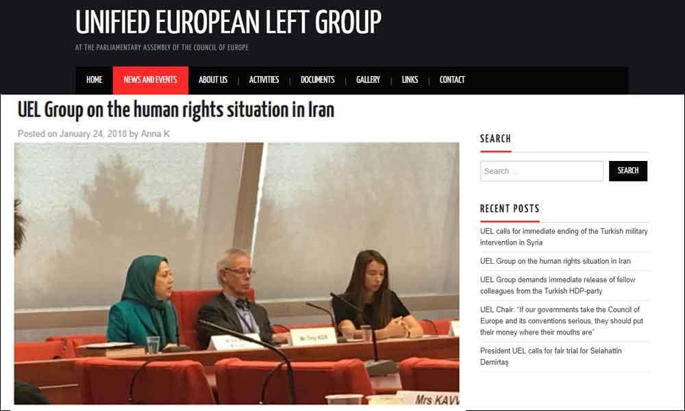 گروه UEL (اتحاد چپ در شورای اروپا) درباره وضعیت حقوق بشر در ایران