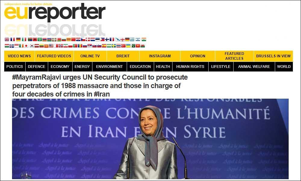 مریم رجوی از شورای امنیت سازمان ملل مصرانه خواست تا تعقیب قانونی قتل عام ۱۳۶۷ و آنها كه مسئول چهار دهه جنایت در ایران هستند را فراهم كند
