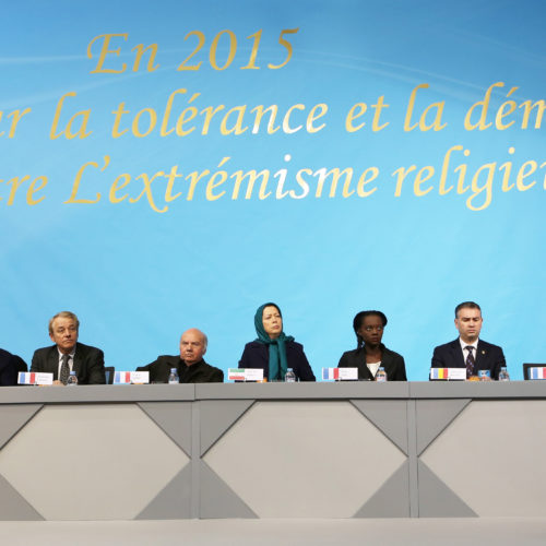 "Maryam Rajavi- Gathering titled ""In 2015, all for tolerance and democracy against religious extremism""-11jan2015"