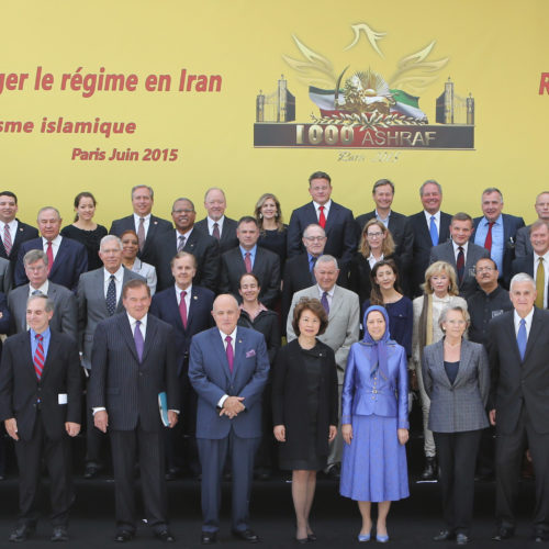 Maryam Rajavi with dignitaries from US, Canada, Europe and Asia at grand annual gathering in Paris _69