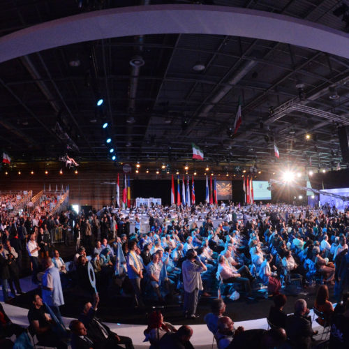 People listening to Maryam Rajavi, Iranian opposition leader at the grand annual gathering in Paris _28
