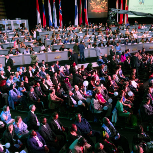 Dignitaries and audience while Maryam Rajavi, Iranian opposition leader, addressing grand annual gathering in Paris _64