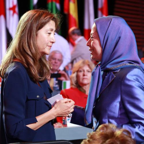 Maryam Rajavi talking to Ingrid Betancourt, at the grand annual gathering in Paris _29