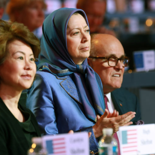Maryam Rajavi with Elaine Chao and Rudi Giuliani at the grand annual gathering in Paris _30