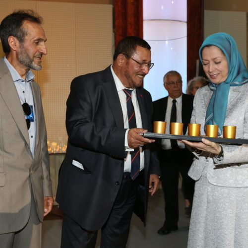 Maryam Rajavi Iran's opposition Leader with leaders of Muslim communities in France in a major Ramadan conference in Paris on 3 July 2015 -9