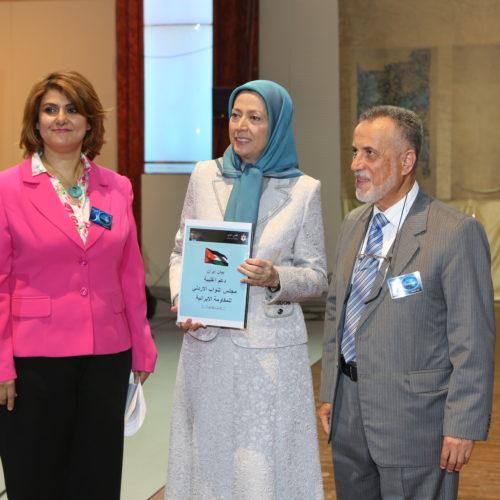 Maryam Rajavi Iran's opposition Leader meeting Jordanian delegation in a major Ramadan conference in Paris on 3 July 2015 -4