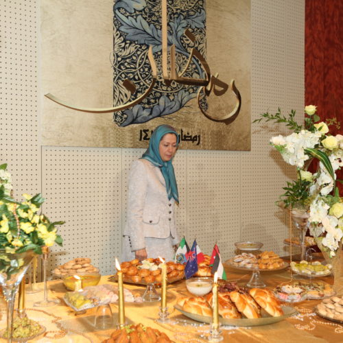Maryam Rajavi Iran's opposition Leader addresses dignitaries from Arab and Islamic countries and representatives of Muslim communities in France in a major Ramadan conference in Paris on 3 July 2015 -6