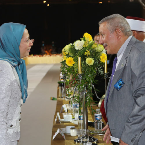 Maryam Rajavi Iran's opposition Leader greeting dignitaries from Arab and Islamic countries and representatives of Muslim communities in France in a major Ramadan conference in Paris on 3 July 2015 -3