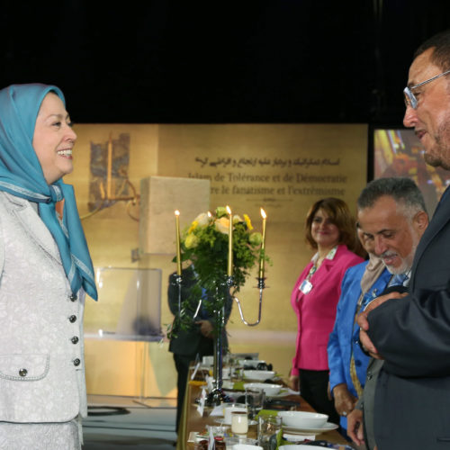 Maryam Rajavi Iran's opposition Leader greeting dignitaries from Arab and Islamic countries and representatives of Muslim communities in France in a major Ramadan conference in Paris on 3 July 2015 -10