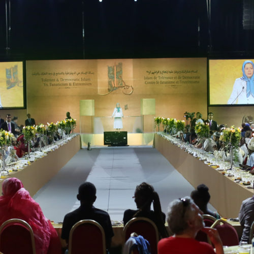 Maryam Rajavi Iran's opposition Leader addresses dignitaries from Arab and Islamic countries and representatives of Muslim communities in France in a major Ramadan conference in Paris on 3 July 2015 -7