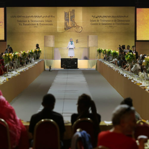 Maryam Rajavi Iran's opposition Leader addresses dignitaries from Arab and Islamic countries and representatives of Muslim communities in France in a major Ramadan conference in Paris on 3 July 2015 -14