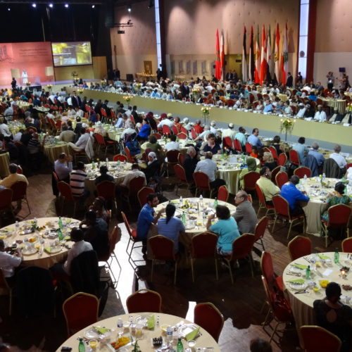 Maryam Rajavi Iran's opposition Leader addresses dignitaries from Arab and Islamic countries and representatives of Muslim communities in France in a major Ramadan conference in Paris on 3 July 2015 -2