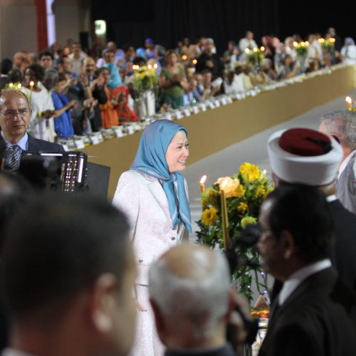Maryam Rajavi Iran's opposition Leader greeting dignitaries from Arab and Islamic countries and representatives of Muslim communities in France in a major Ramadan conference in Paris on 3 July 2015 -1