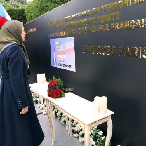 مریم رجوی در مراسم گرامیداشت قربانیان حملات تروریستی پاریس، اور سور اواز، ۲۵ آبان ۱۳۹۴