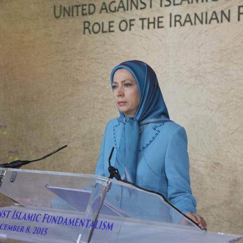 Maryam Rajavi, Senator Joseph Lieberman and Prof. Alejo Vidal Quadras take part in a meeting on the eve of International Human Rights Day. Paris – December 8, 2015