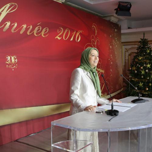 مریم رجوی در جشن سال نو میلادی با حامیان فرانسوی مقاومت ایران