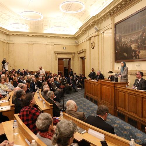 کنفرانس در مجلس ملی فرانسه سخنرانی مریم رجوی - ۲ اسفند ۱۳۹۷