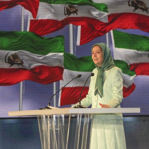 مریم رجوی- سخنرانی در گردهمایی بین المللی رژیم ولایت فقیه منبع جنگ و بیثباتی در منطقه- ۸تیر ۱۳۹۸