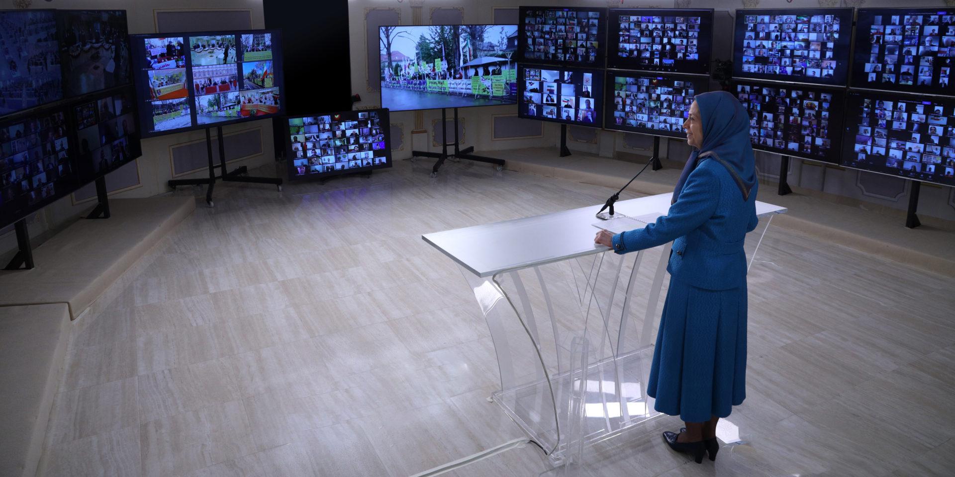 مریم رجوی در کنفرانس جهانی همزمان با محکومیت دیپلمات تروریست رژیم آخوندی در یک دادگاه اروپایی - ۱۶بهمن ۱۳۹۹