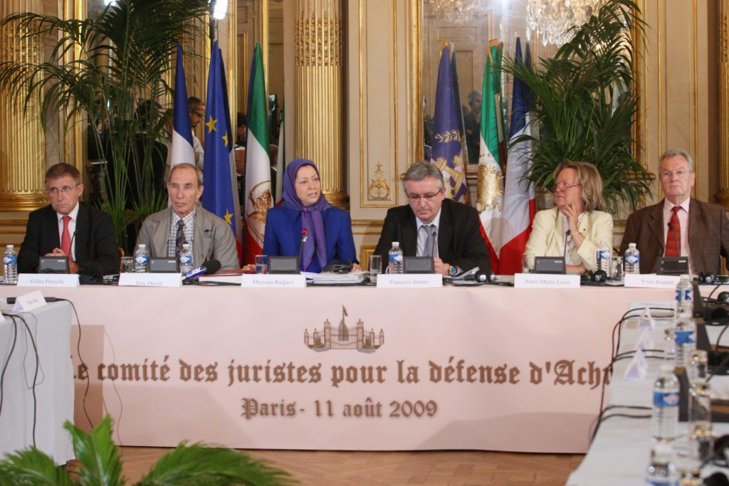 سخنرانی در کنفرانس مطبوعاتی درباره حمله به اشرف