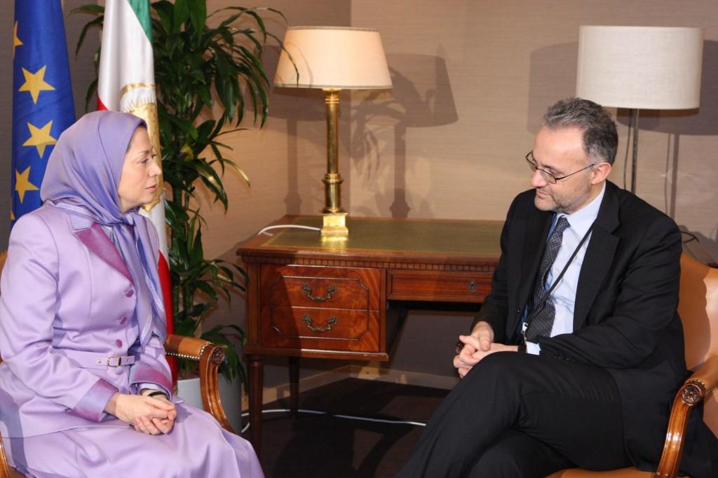 ملاقات رئیس هیأت ایتالیا در گروه پارلمانی حزب مردم اروپا با مریم رجوی